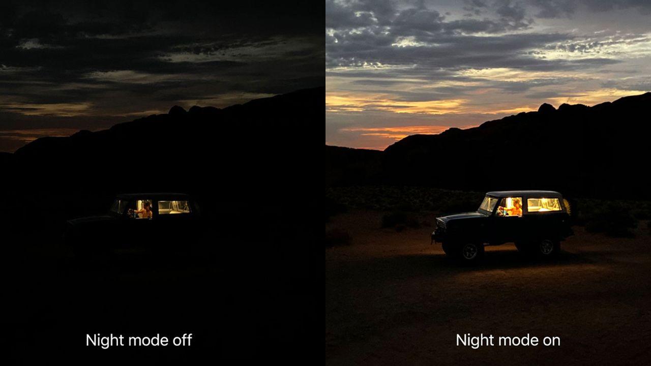 Comparação de uma foto com o modo noturno desligado e ligado (Foto: Divulgação/Apple)
