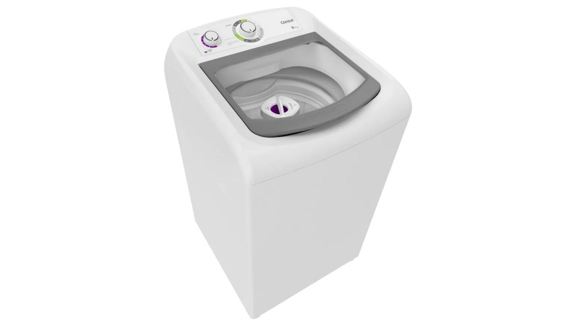 O design da lavadora de roupas Consul 9Kg branca é descontraído, com os detalhes em verde e roxo (Imagem: Reprodução/Consul).