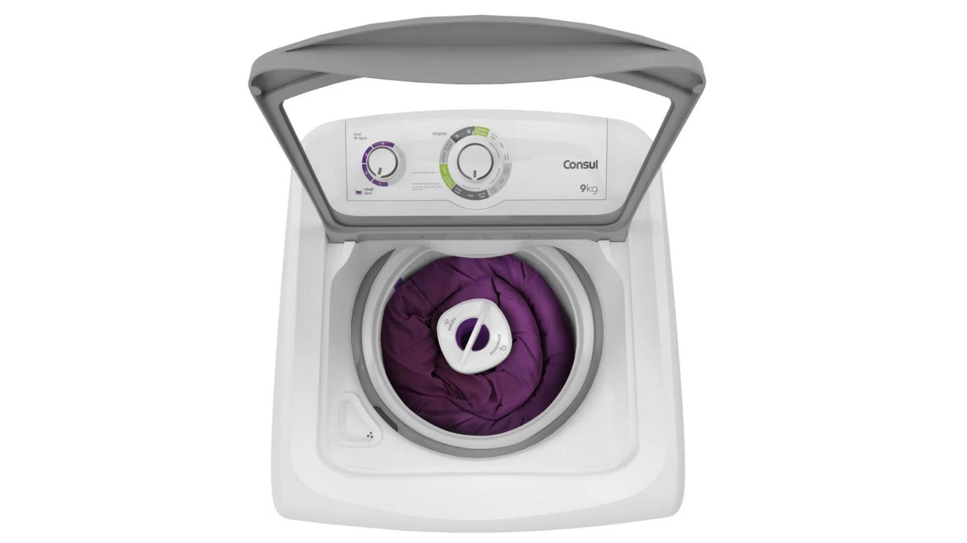 A lavagem do edredom tem um ciclo exclusivo na lavadora de roupas Consul CWB09 (Imagem: Reprodução/Consul).