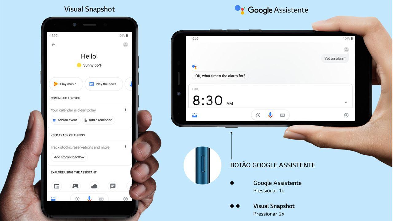 O LG K8 Plus tem um botão dedicado para o Google Assistente (Foto: Divulgação/LG)