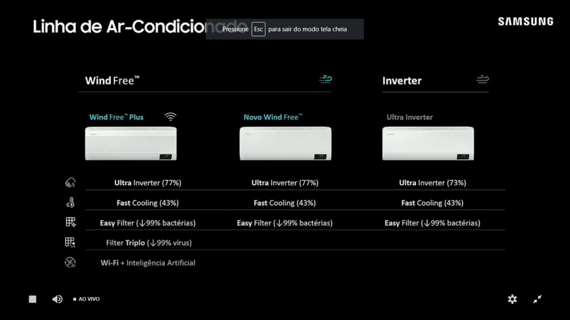 Linha WindFree é composta por dois modelos, WindFree Plus e Novo WindFree. (Imagem: Reprodução/Samsung)