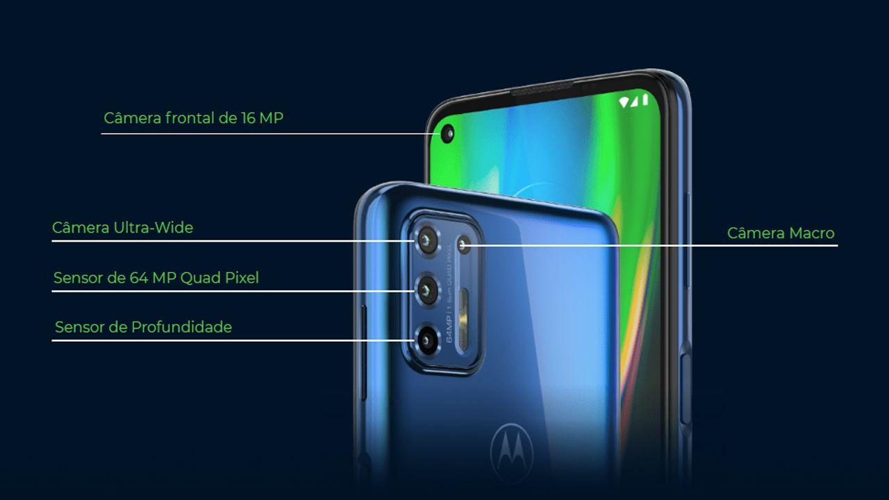 Conjunto de câmeras do Moto G9 Plus (Foto: Divulgação/Motorola)