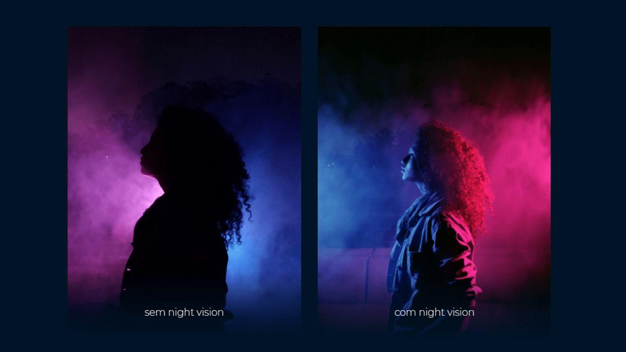 """Diferença de uma foto com e sem o """"night vision"""", recurso para imagens noturnas (Foto: Divulgação/Motorola)"""