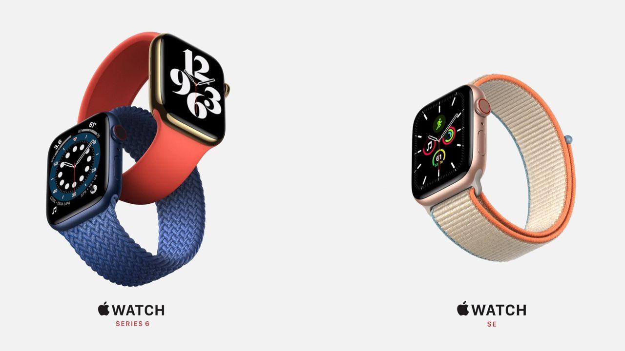 Apple Watch 6 e Apple Watch SE lado a lado (Foto: Divulgação/Apple)