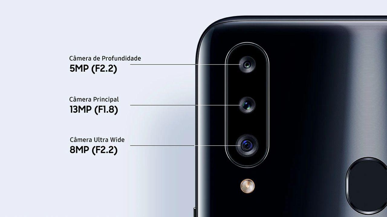 Conjunto de câmeras do Galaxy A20s (Foto: Divulgação/Samsung)