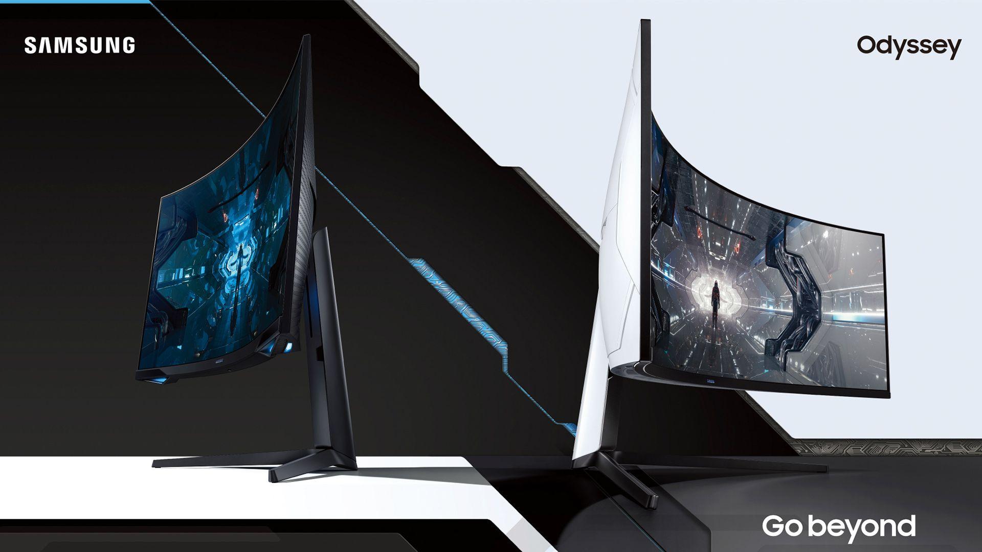 Samsung Odyssey G7 (à esquerda) e Odyssey G9 (à direita). (Foto: Divulgação/Samsung)