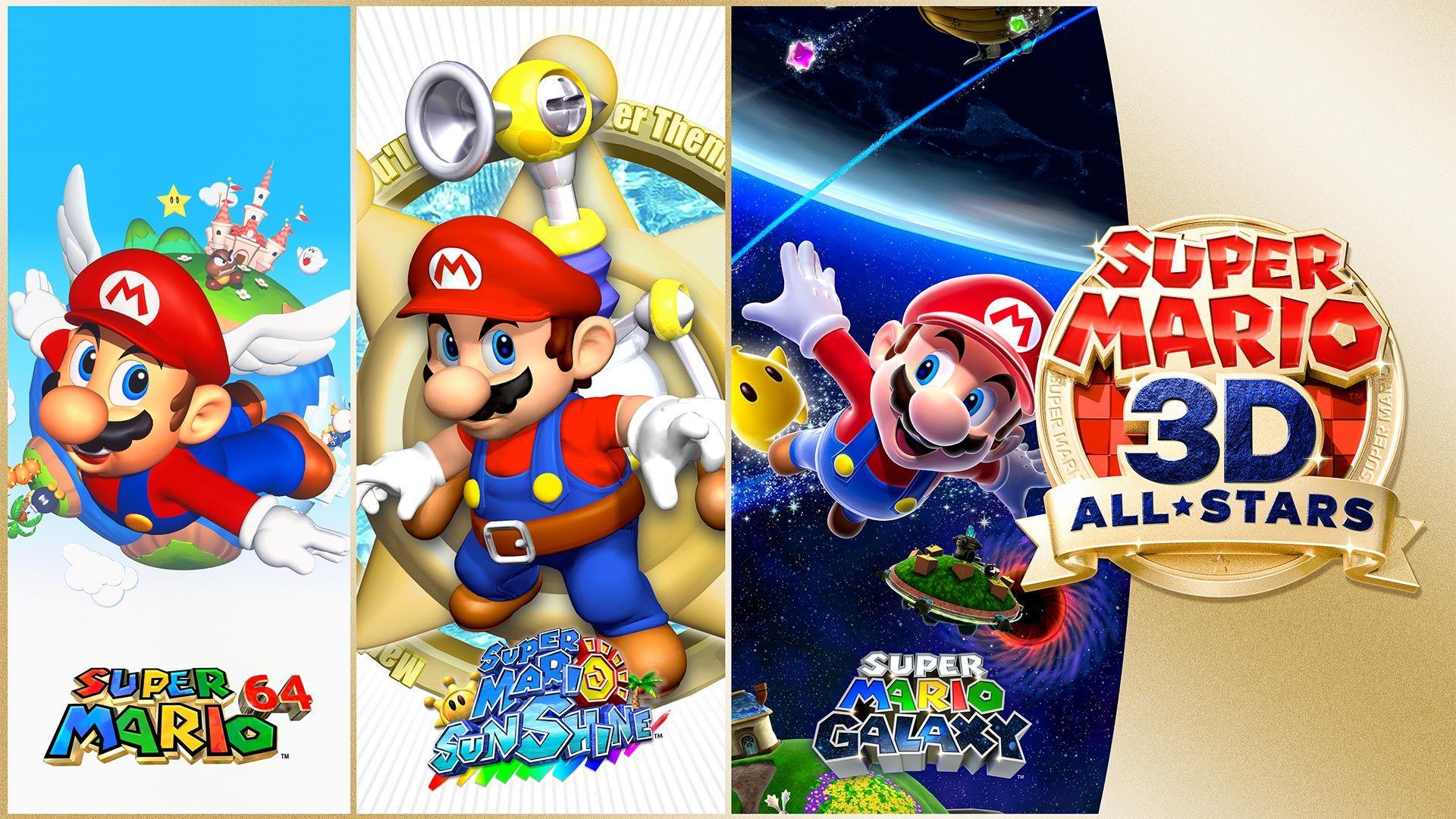 Super Mario 3D All-Stars reúne Mario 64, Sunshine e Galaxy remasterizados. (Foto: Divulgação/Nintendo)