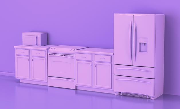 É muito importante ter ideia do espaço disponível na cozinha e reservar uma área confortável para a geladeira. (Imagem: Reprodução/Shutterstock)