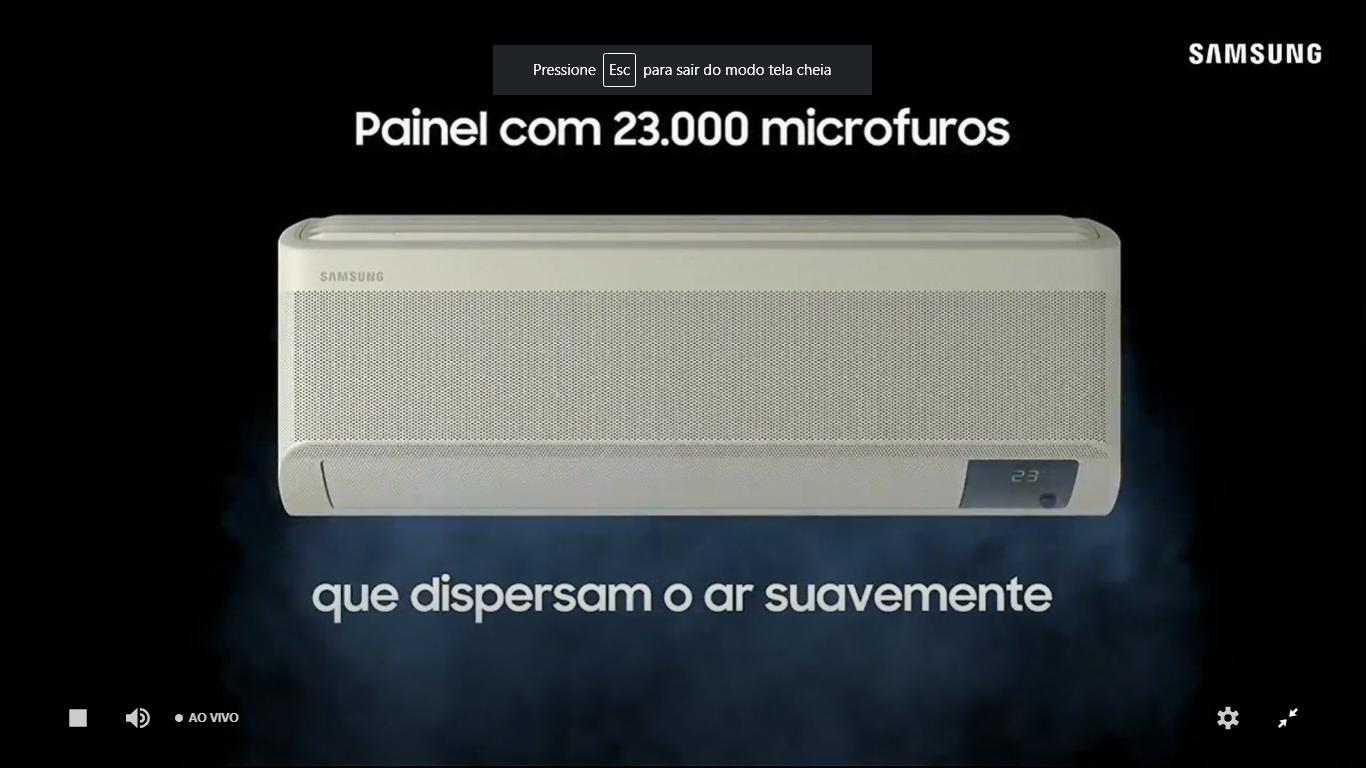 """Novos aparelhos da marca chegam com tecnologia WindFree, ou seja """"sem vento"""". (Imagem: Reprodução/Samsung)"""