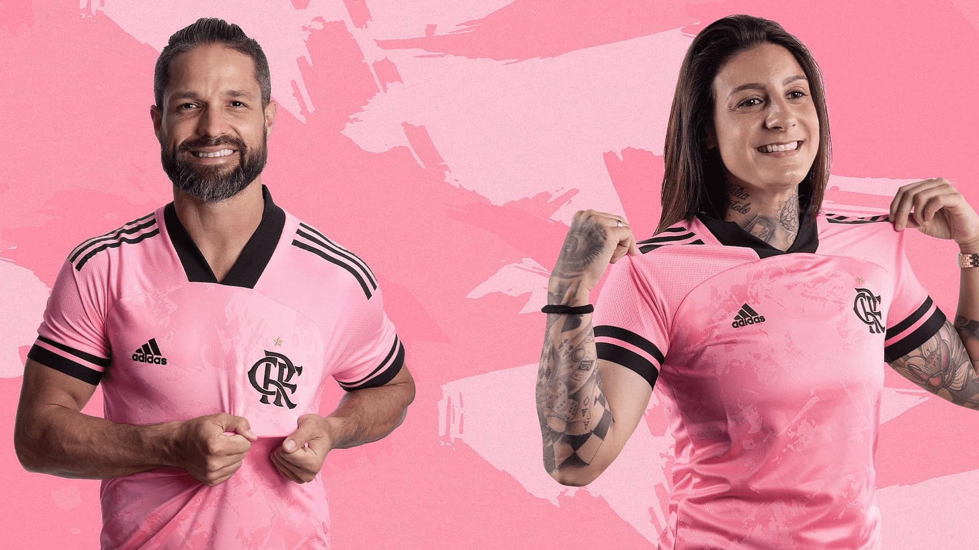 A camisa rosa do Flamengo terá parte do lucro revertido ao Instituto Brasileiro de Controle do Câncer (Imagem: Divulgação/Adidas)