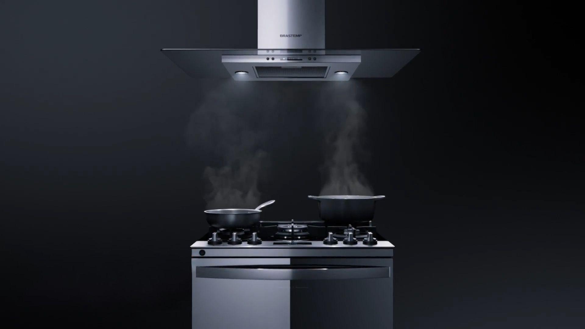 A coifa Brastemp BAV10AR possui luzes de LED que auxiliam na iluminação do fogão durante o preparo. (Imagem: Divulgação/Brastemp)