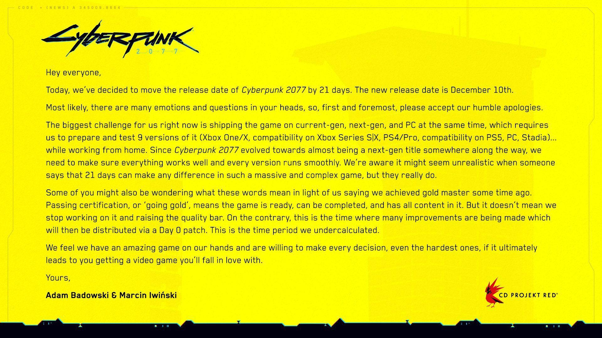 CD Projekt Red divulga mensagem com novo atraso para Cyberpunk 2077 (Foto: Reprodução/CD Projekt Red)