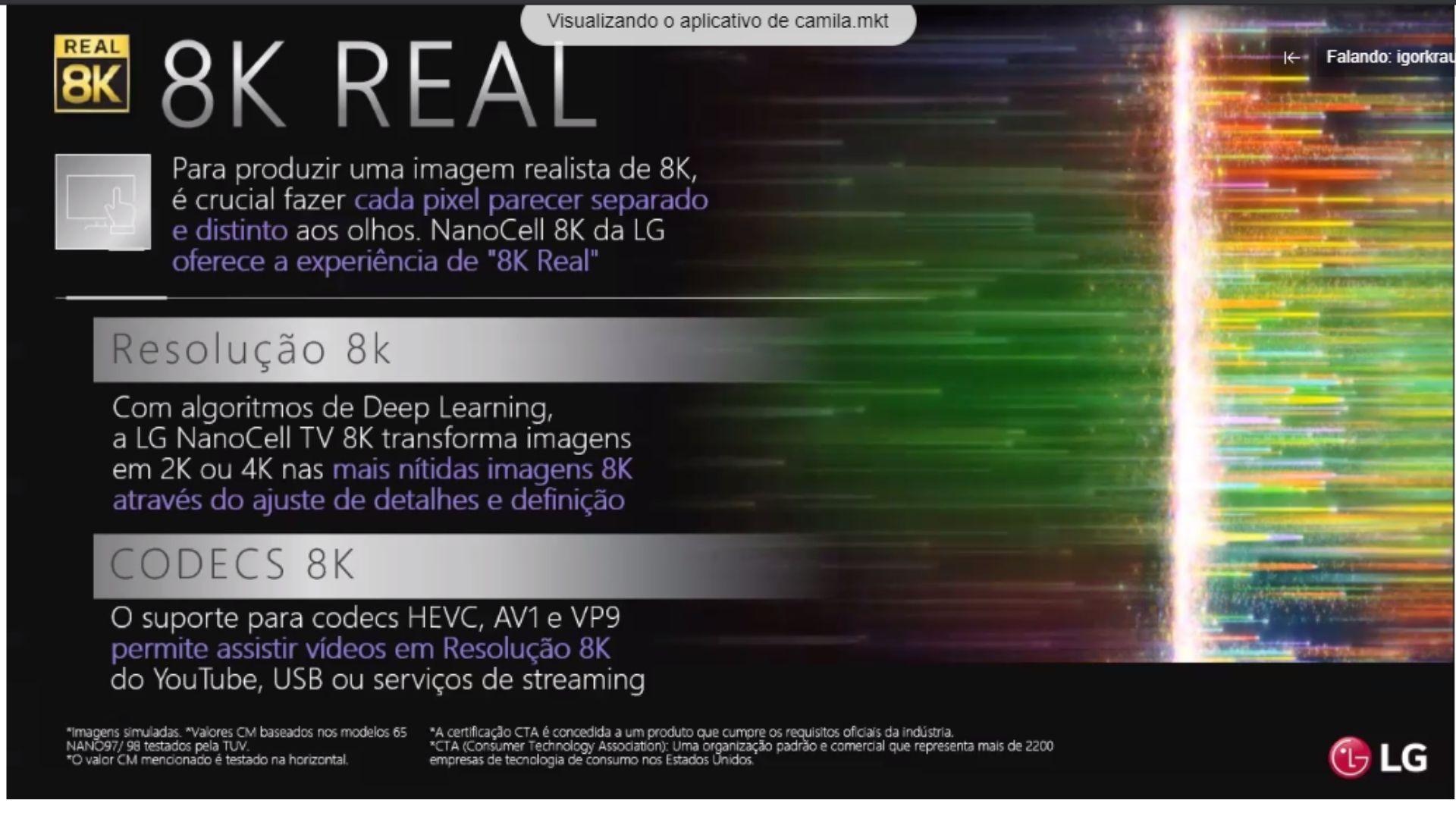 LG apresentou os detalhes dos modelos 8K hoje, em evento online. (Imagem: Reprodução/LG)