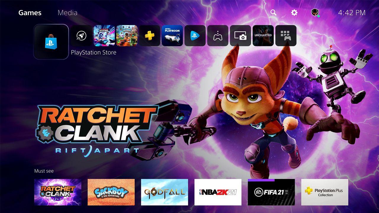 Interface principal do Playstation 5. (Foto: Divulgação/Sony)