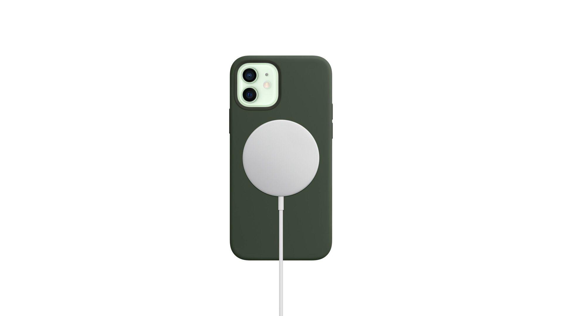 O carregador wireless pode ser usado no iPhone 12 por cima da capa magnética (Foto: Reprodução/Apple)