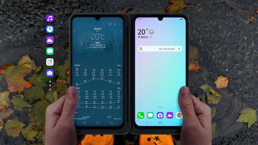 O LG G8X possui uma capa que lhe dá uma segunda tela. (Foto: Divulgação/LG)