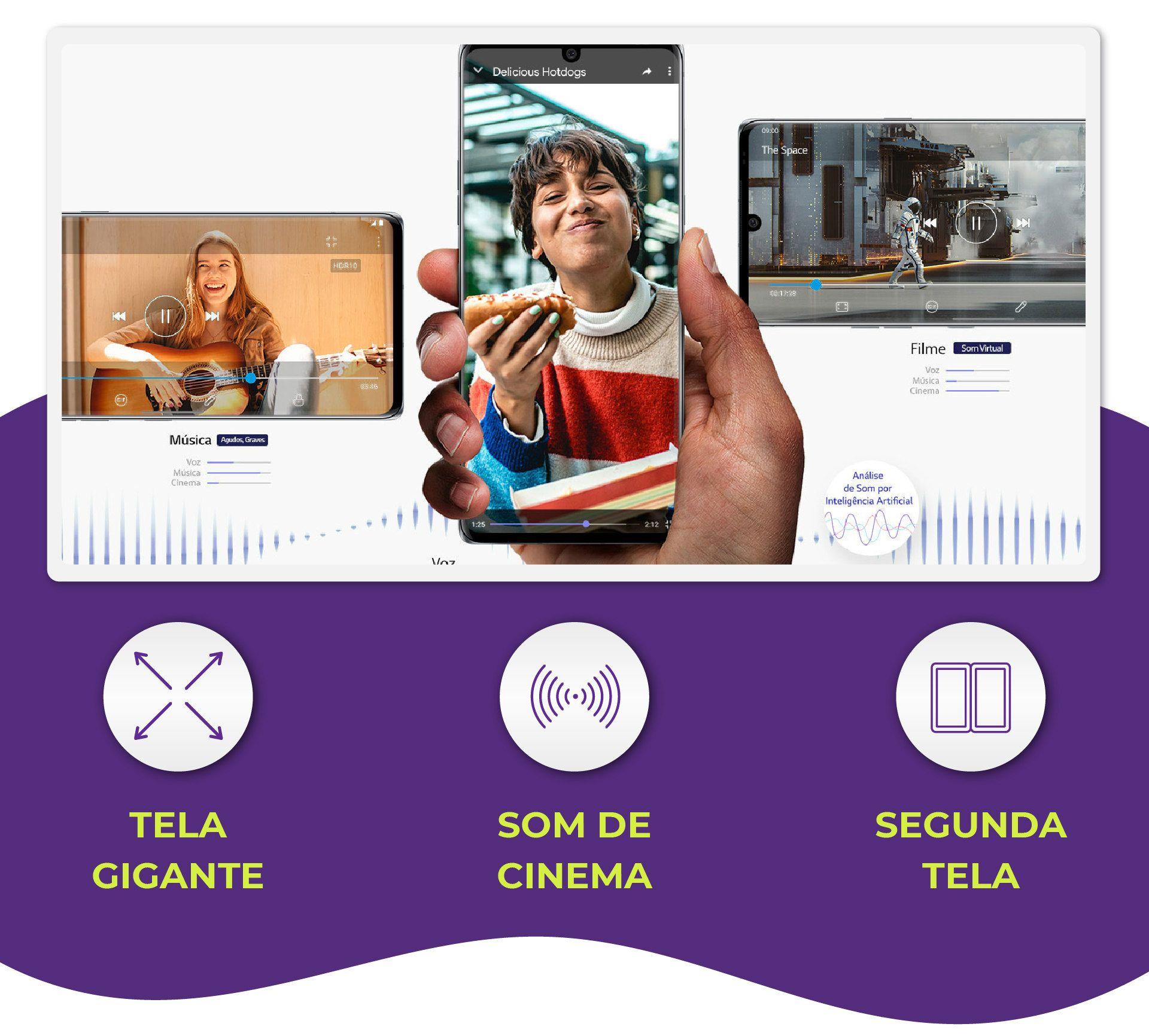 A tela gigante e o som de cinema são ideais para assistir filmes e séries no LG Velvet (Foto: Divulgação/LG)