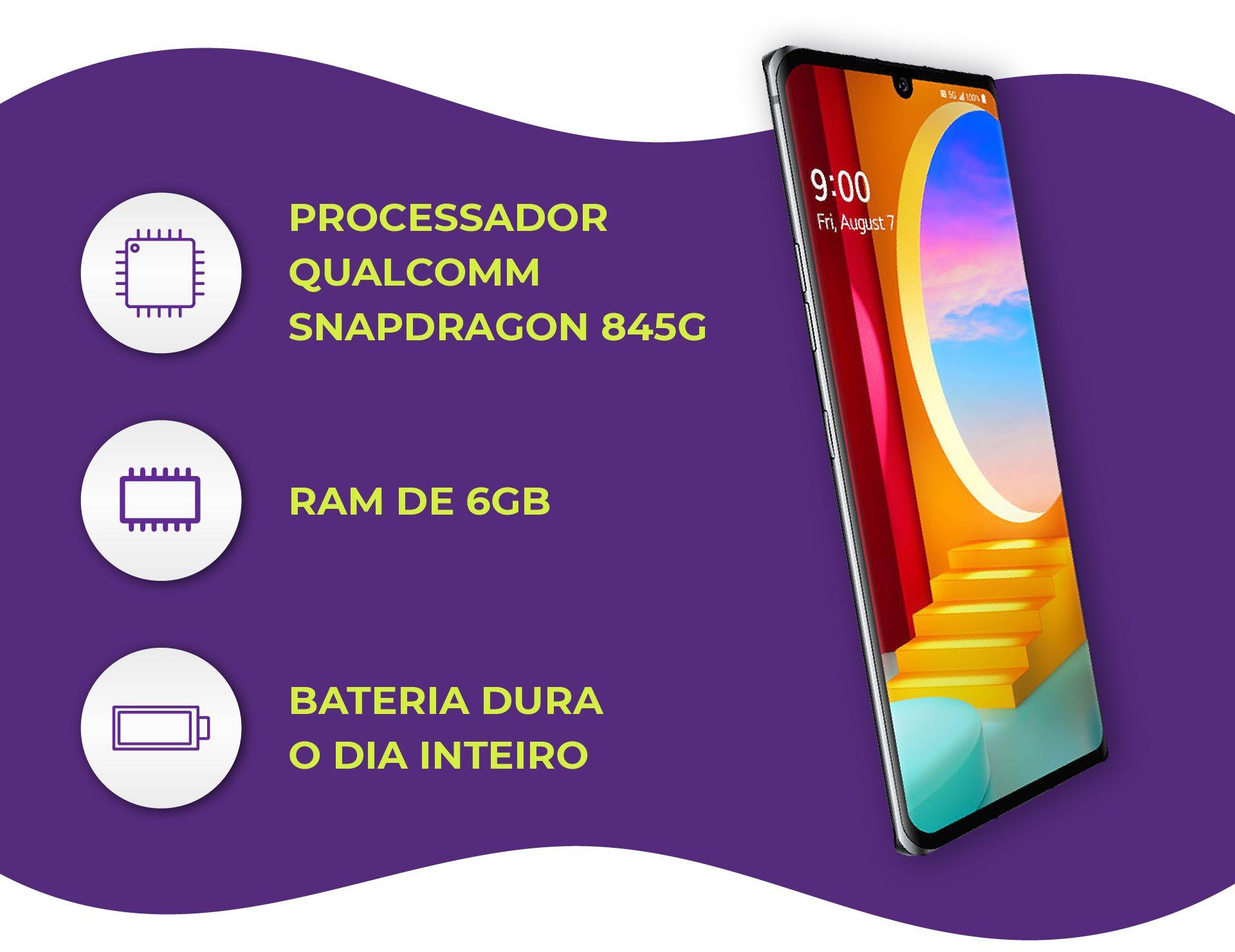 O processador Snapdragon 845G e os 6 GB de memória RAM garantem um ótimo desempenho (Foto: Divulgação/LG)