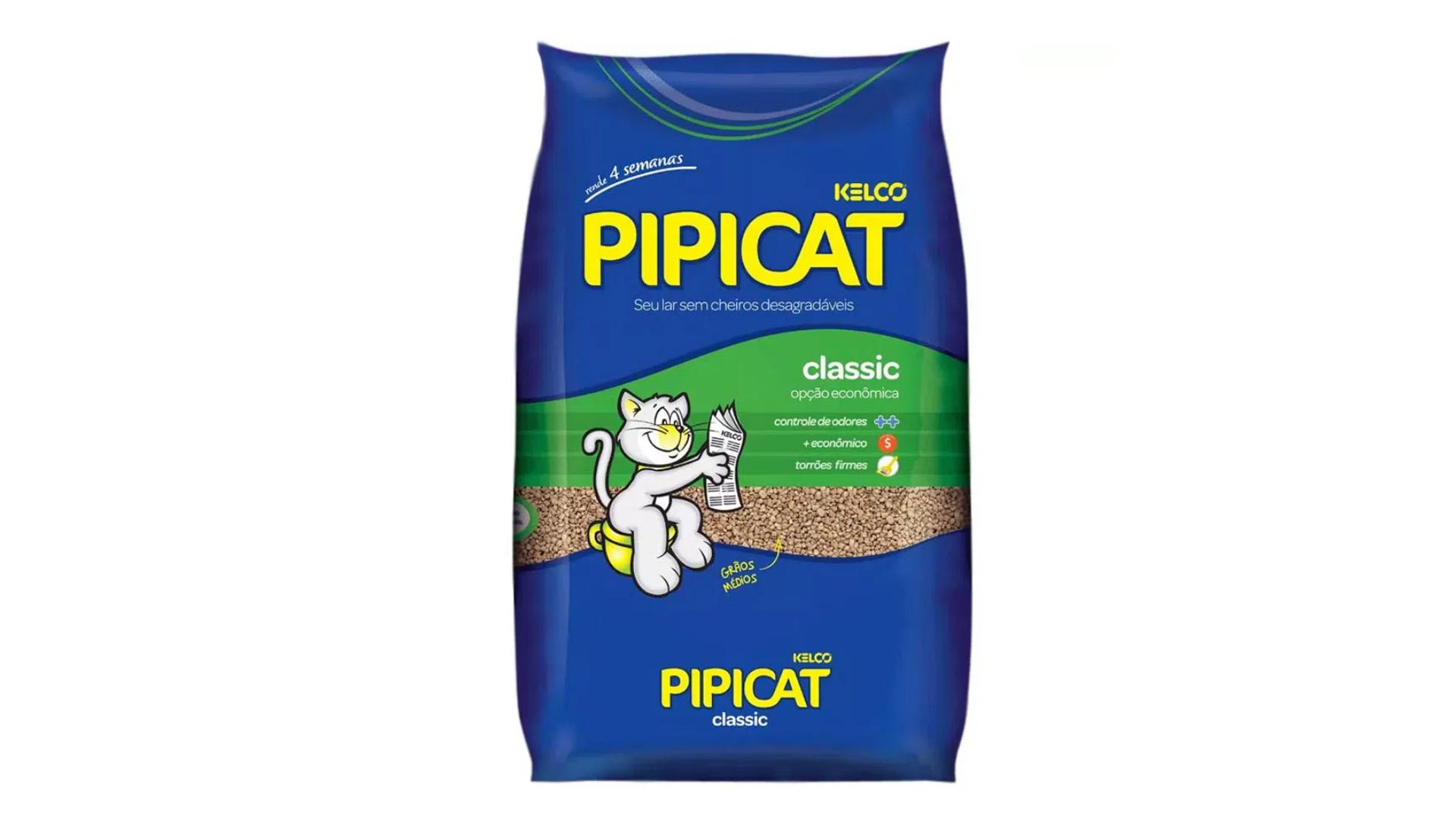 A areia para gato Pipicat Classic Kelco é a mais vendida do mercado (Imagem: Divulgação/Kelco)