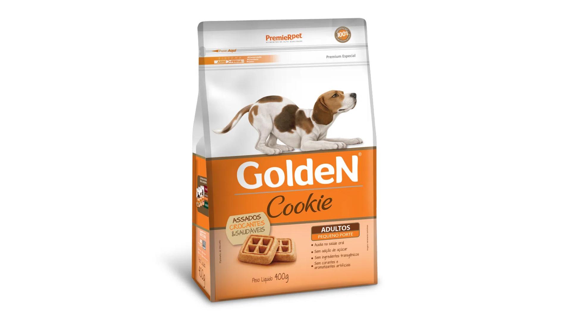 O biscoito Golden Cookie ajuda no equilíbrio da flora intestinal (Imagem: Divulgação/PremieR Pet)