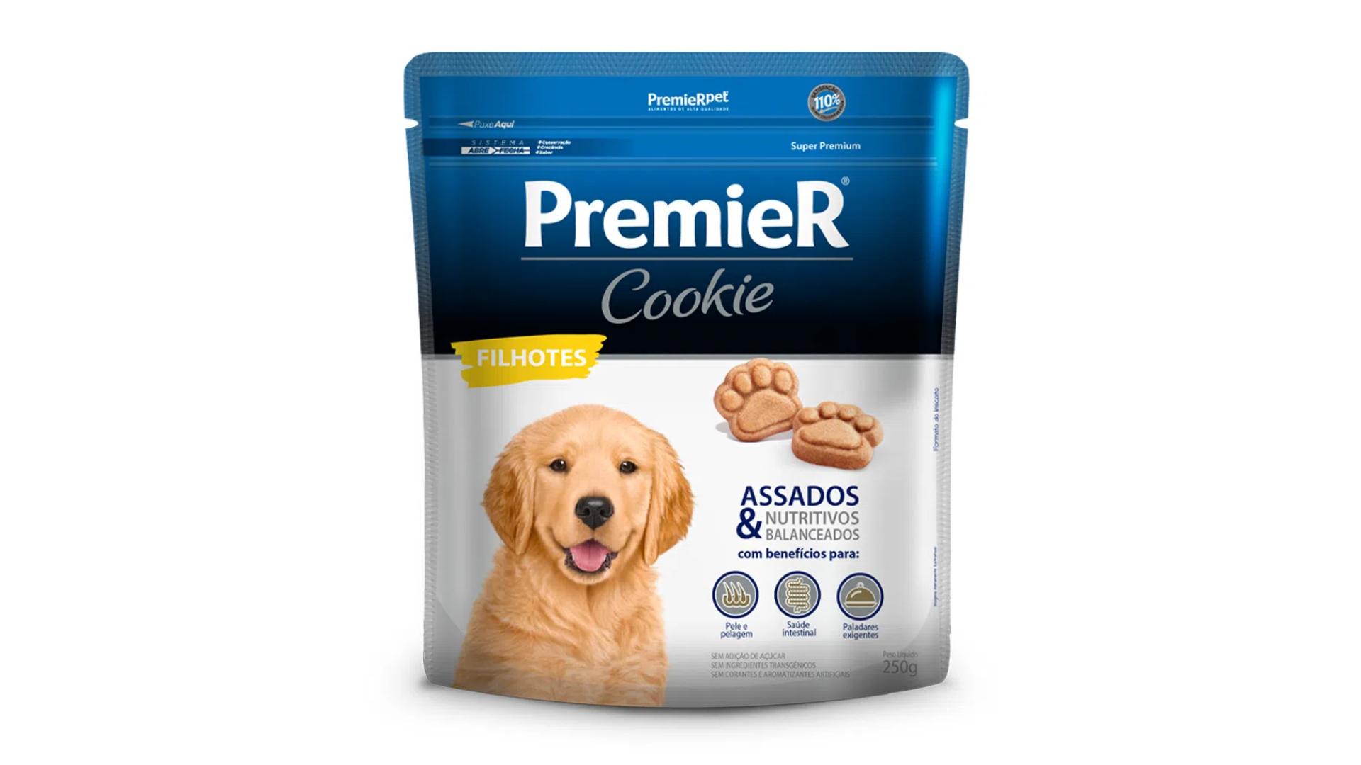 O petisco PremieR Cookie tem zinco e biotina para uma pelagem mais sedosa (Imagem: Divulgação/PremieR)
