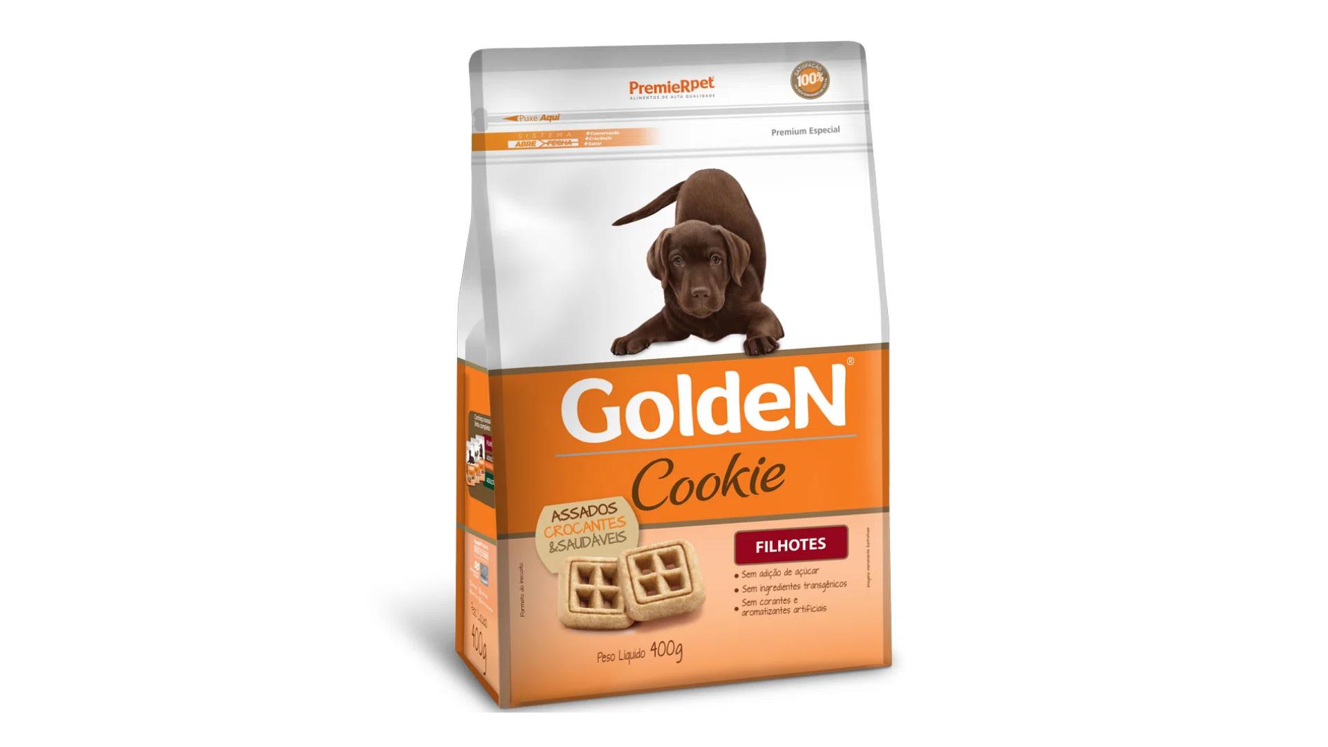 A PremieR também tem a linha Golden Cookie no sabor frango para os cachorros filhotes (Imagem: Divulgação/PremieR)