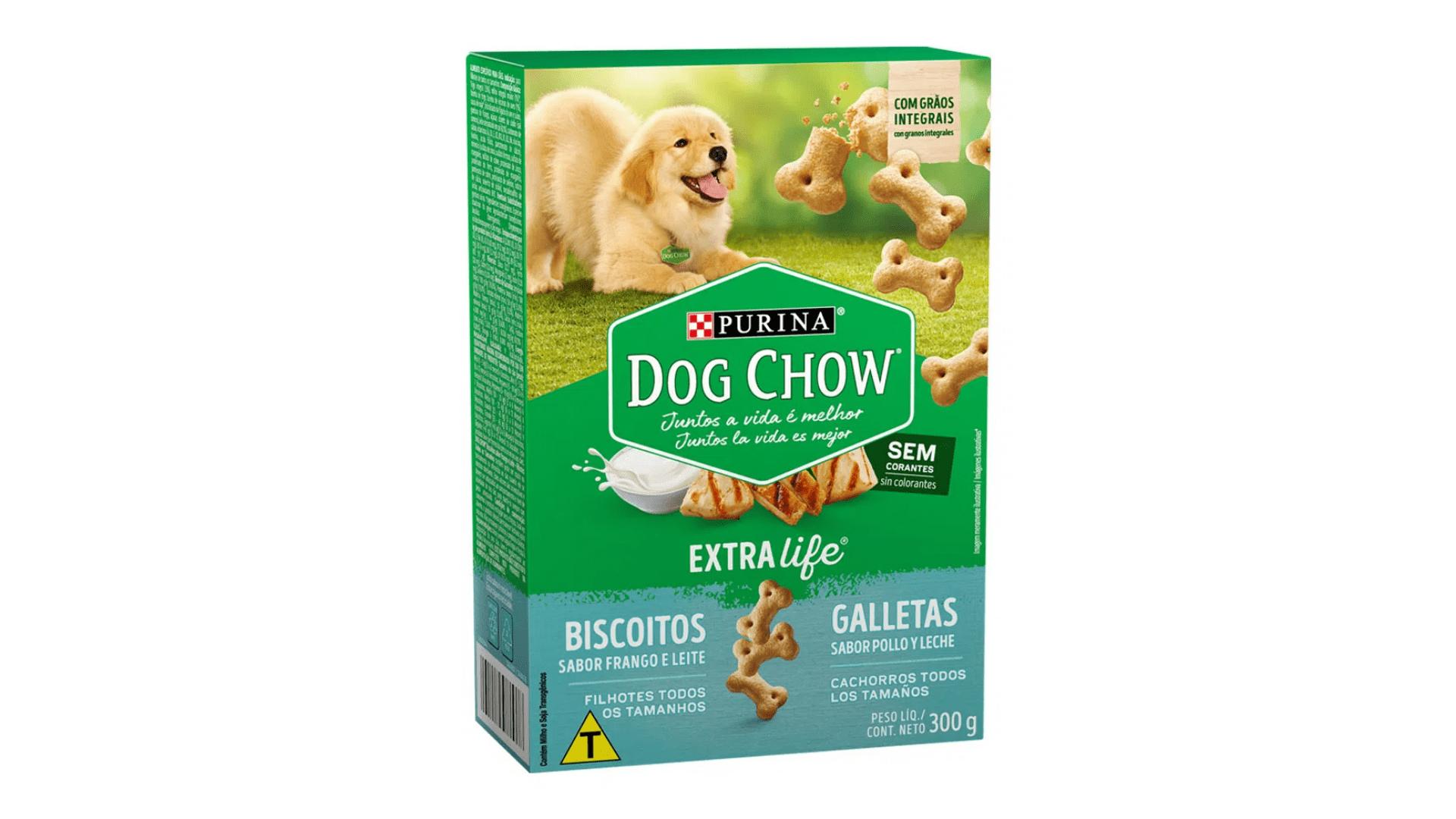 O biscoito Dog Chow Carinhos tem sabores naturais de frango e leite (Imagem: Divulgação/Dog Chow)