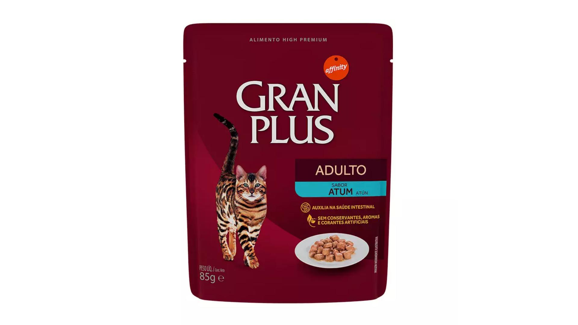 O sachê GranPlus Adultos é indicado para auxiliar no intestino dos gatos (Imagem: Divulgação/GranPlus)