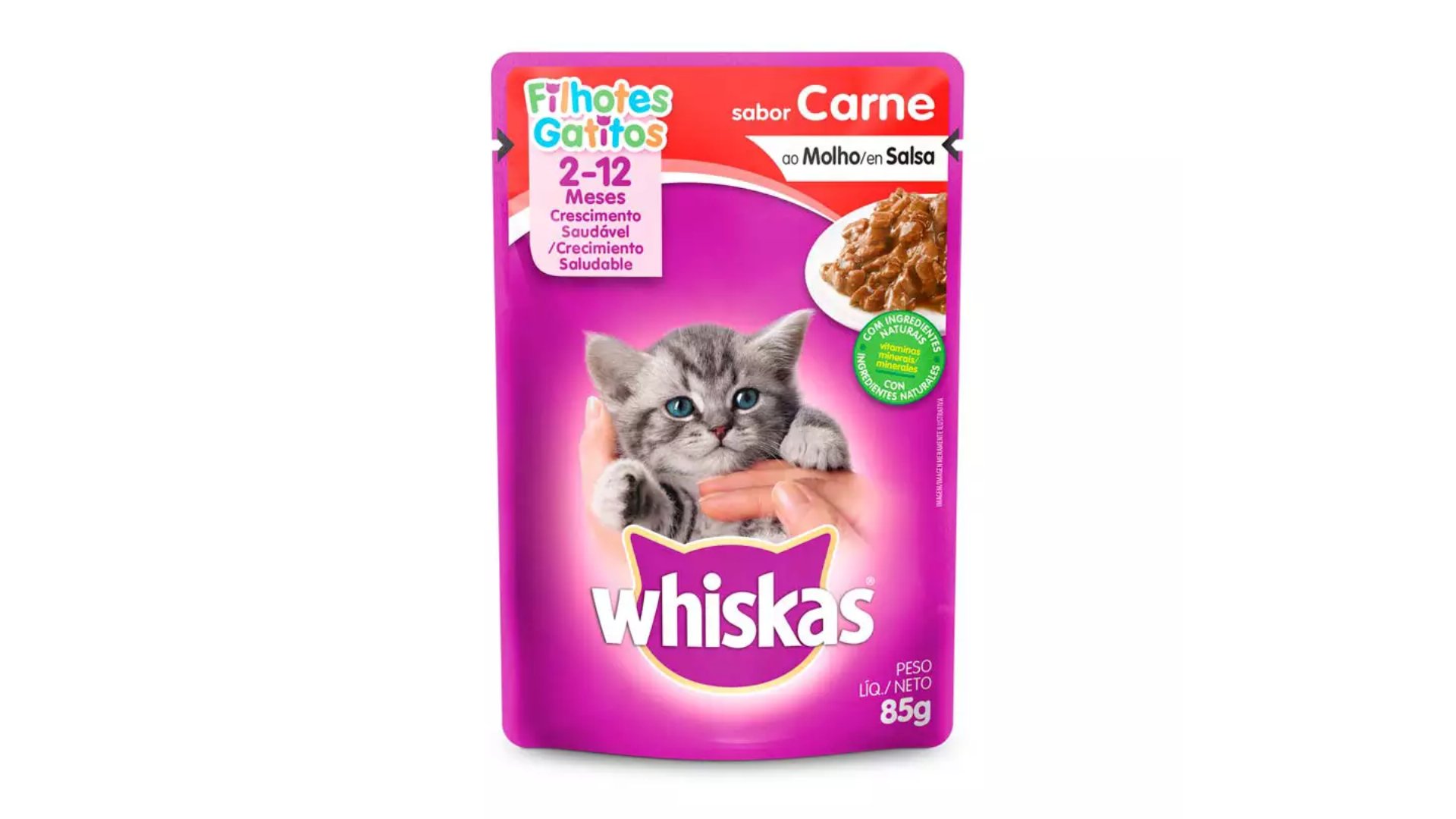 O sachê Whiskas Filhotes traz uma refeição completa e balanceada para o felino (Imagem: Divulgação: Whiskas)
