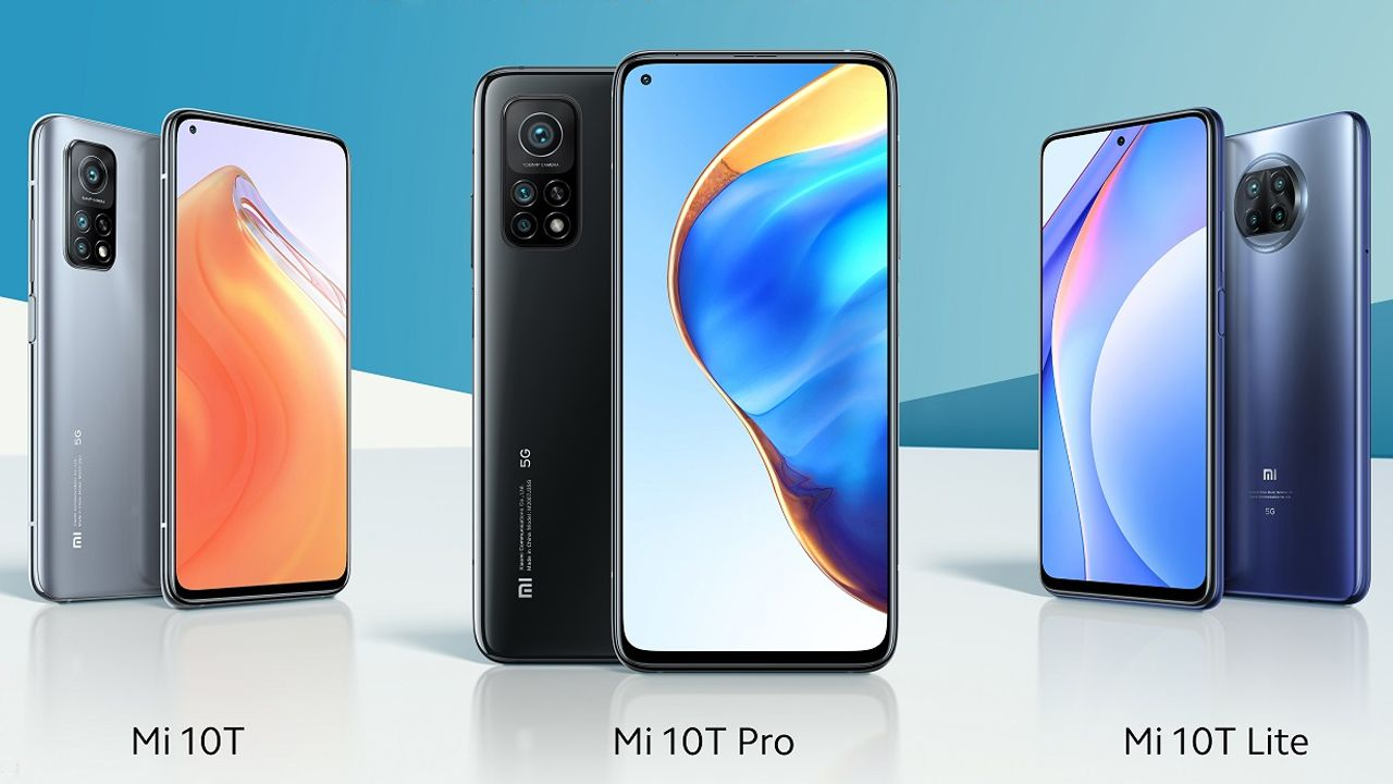 Celulares da nova linha Mi 10T da Xiaomi. (Foto: Divulgação/Xiaomi)