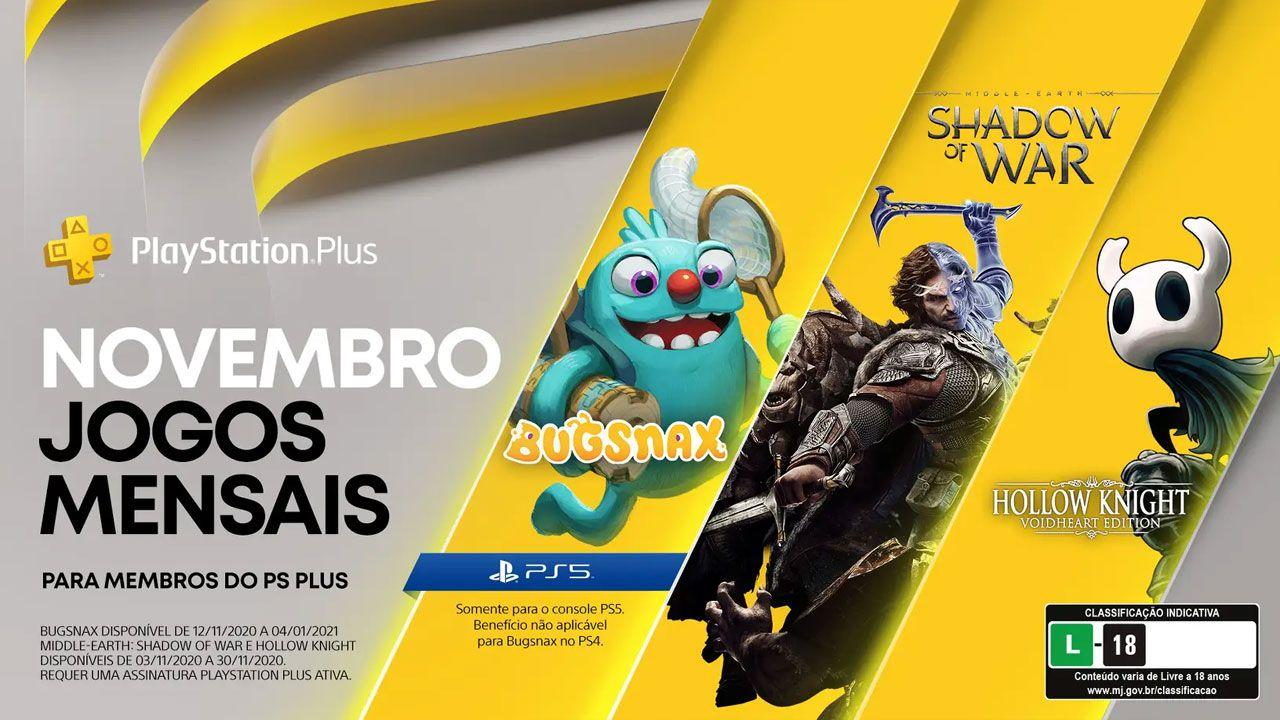 Terra-média: Sombras da Guerra e Hollow Knight serão games grátis da PS Plus para PS4 com Bugsnax gratuito exclusivamente para o PS5 (Reprodução: PlayStation Blog)