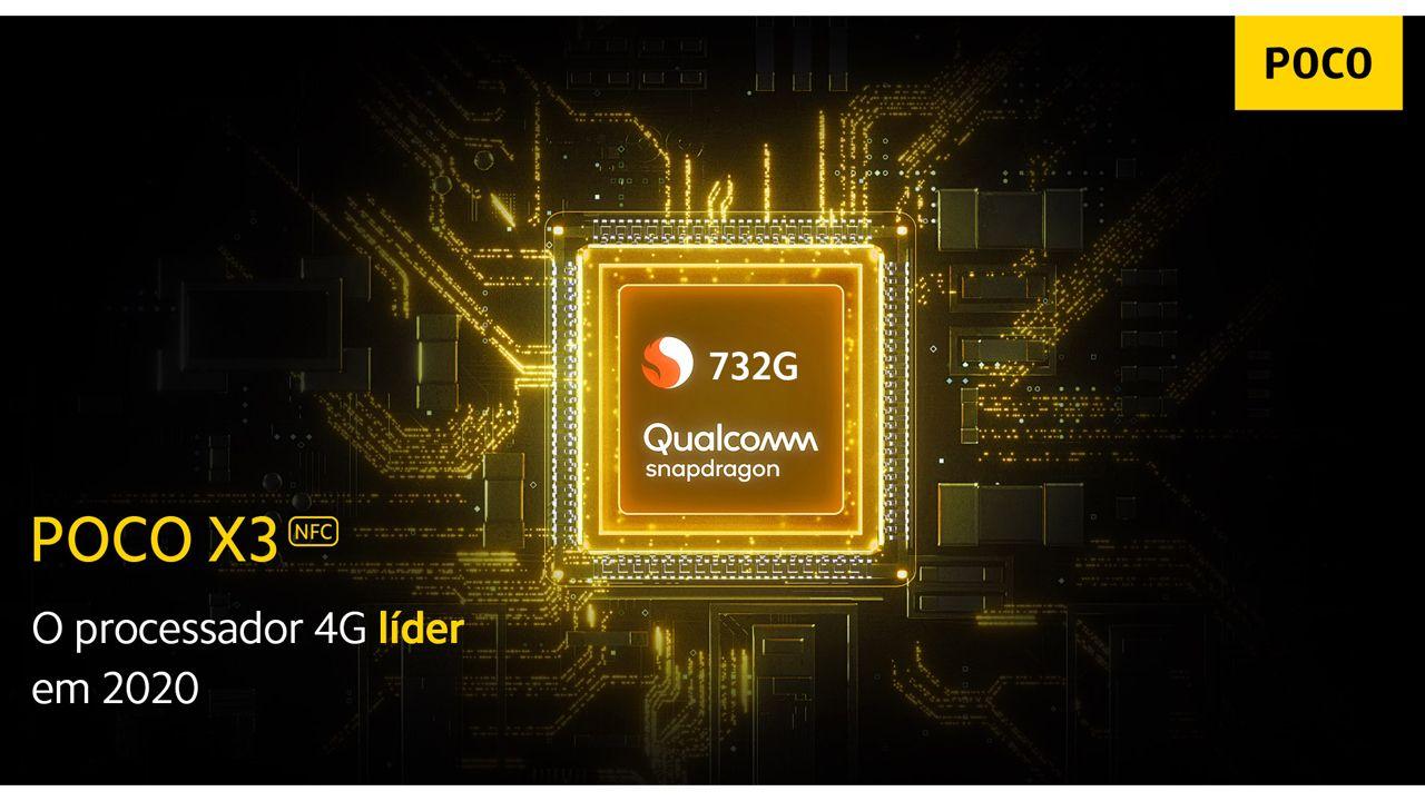 O Snapdragon 732G é o processador do Poco X3. (Foto: Divulgação/Xiaomi)