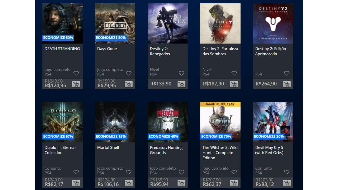 Alguns dos descontos de Hallowen da PS Store. (Foto: Reprodução/PS Store)