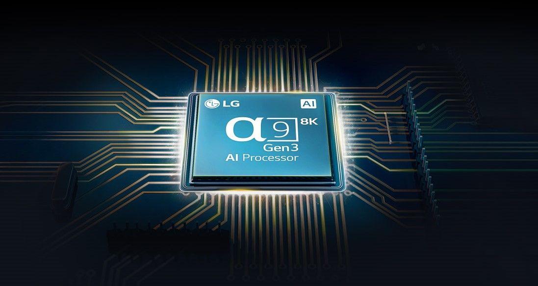 O processador α9 3ª Geração 8K garante pretos mais profundos e melhores contrastes nas cenas mais escuras (Imagem: Divulgação/LG).