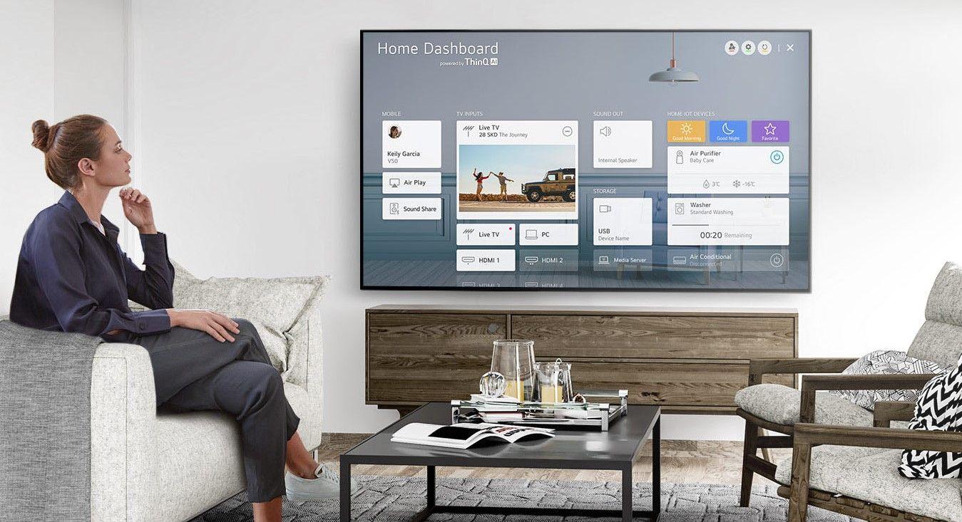 Por meio ThinQ AI é possível conectar as TVs NanoCell com outros dispositivos inteligentes da casa (Imagem: Divulgação/LG).