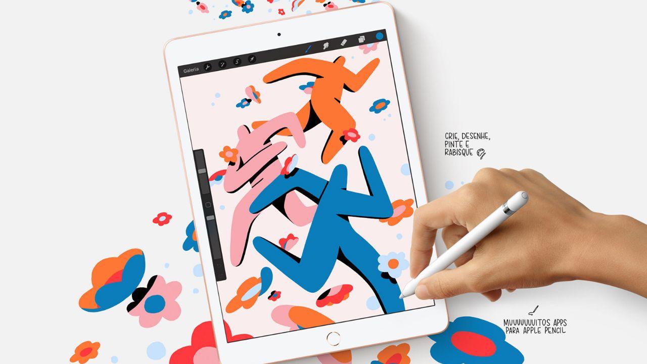 O iPad 7 e o iPad 8 possuem suporte a Apple Pencil de 1° geração (Foto: Divulgação/Apple)