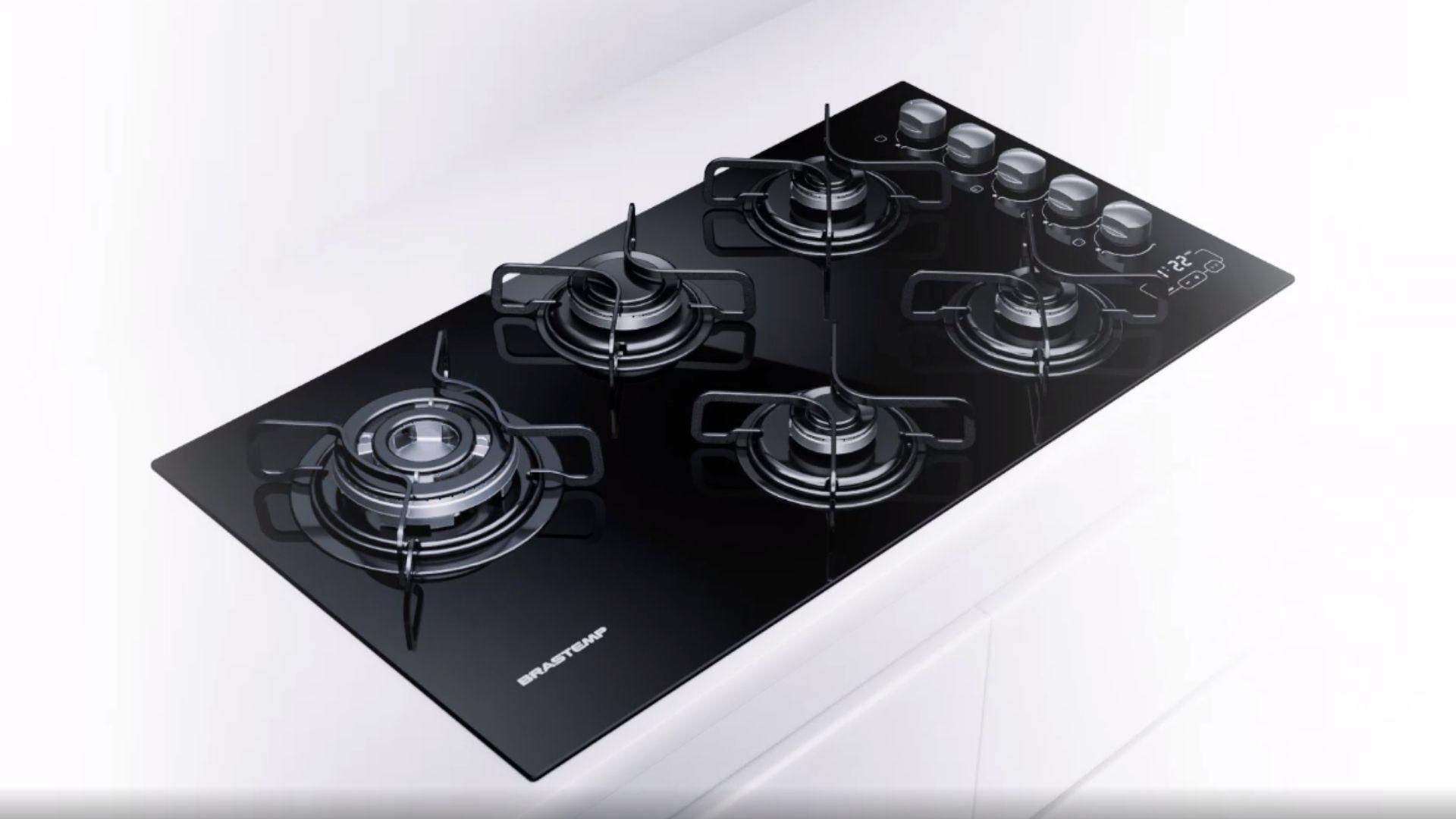 VIsual completo do cooktop Brastemp Ative de 5 bocas. (Imagem: Divulgação/Brastemp)