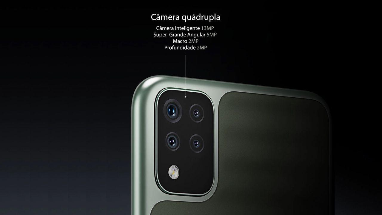 Conjunto de câmeras do LG K52. (Foto~: Divulgação/LG)