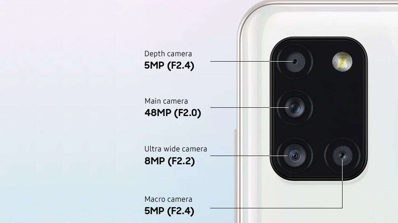 Conjunto de câmeras do Galaxy A31 (Foto: Divulgação/Samsung)