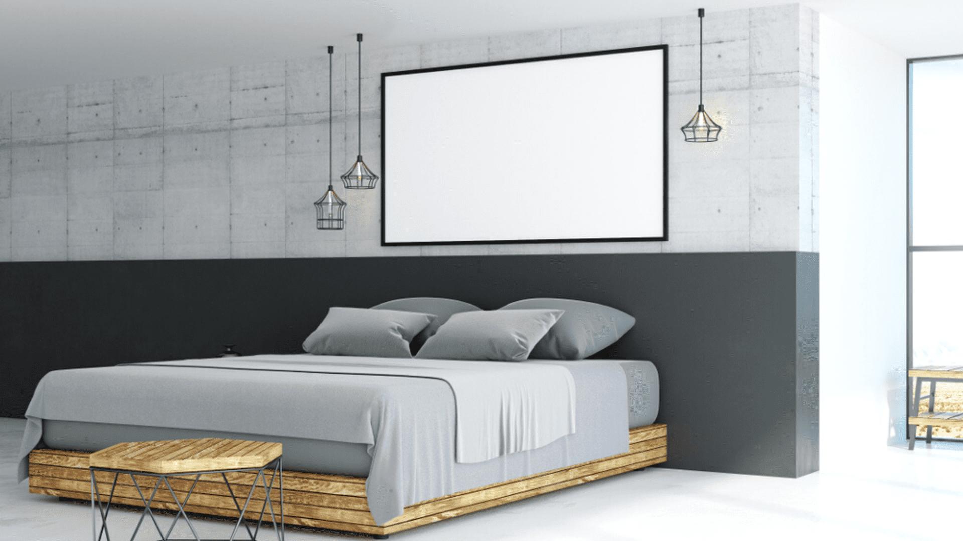 Você pode usar a meia parede como cabeceira no quarto (Imagem: Reprodução/Shutterstock)