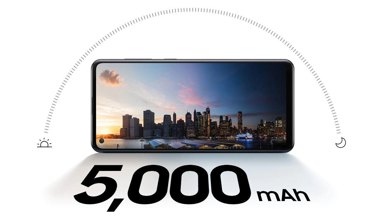 O Galaxy A21s tem 5.000 mAh de bateria, para durar mais de um dia (Foto: Divulgação/Samsung)