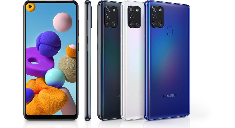O Galaxy A21s está disponível nas cores preta, branca e azul (Foto: Divulgação/Samsung)