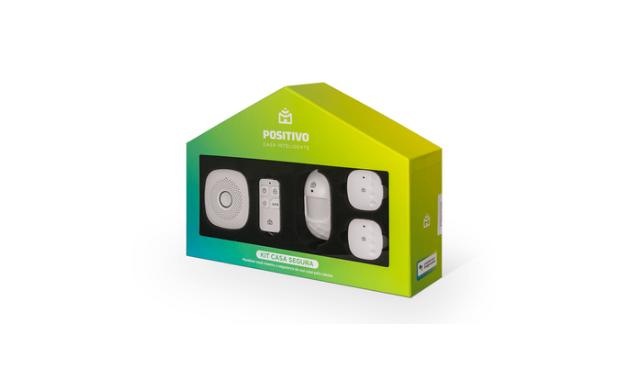 Kit Casa Segura Positivo conta com sensor de movimento, de abertura e câmera de segurança. (Imagem:Divulgação/Positivo)