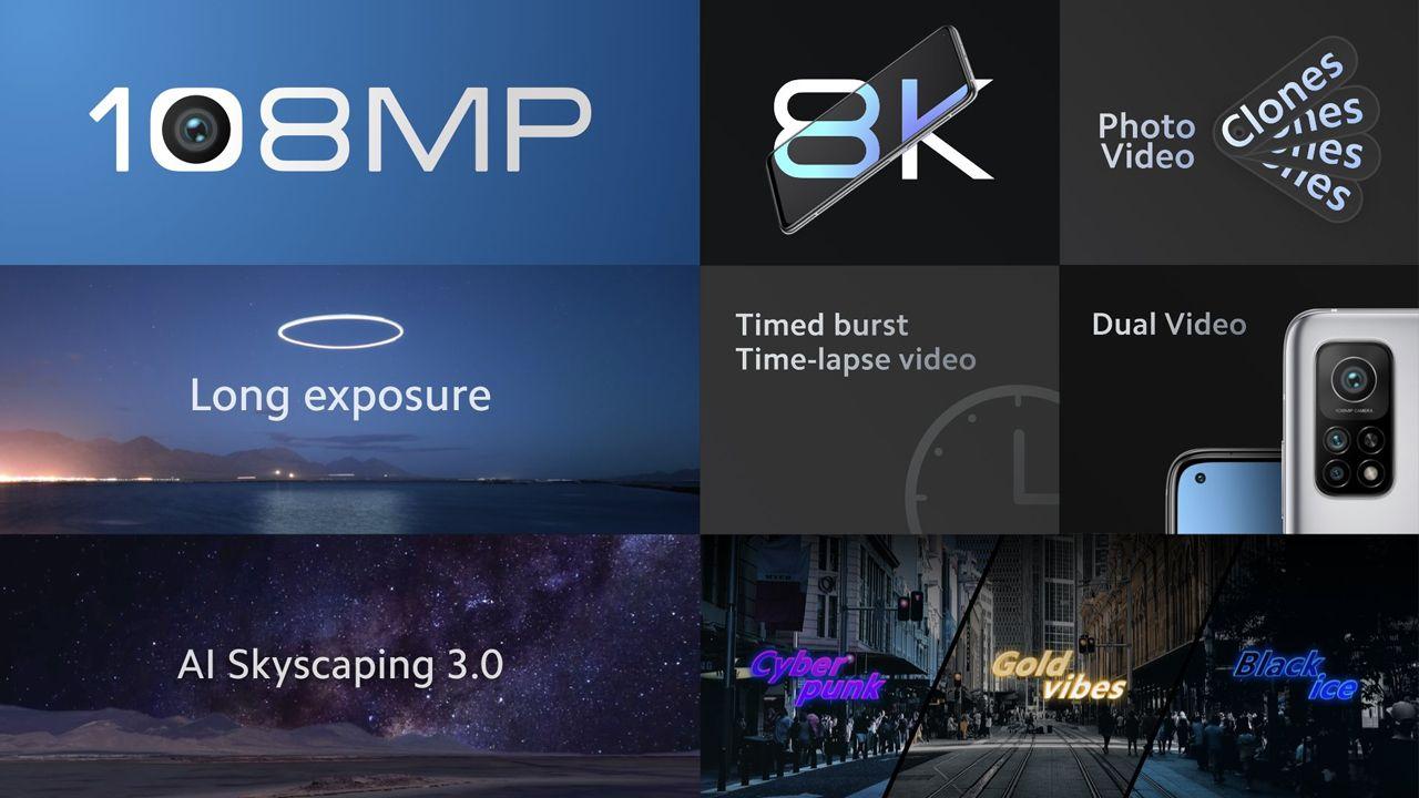 Recursos da câmera do Mi 10T Pro. (Foto: Divulgação/Xiaomi)