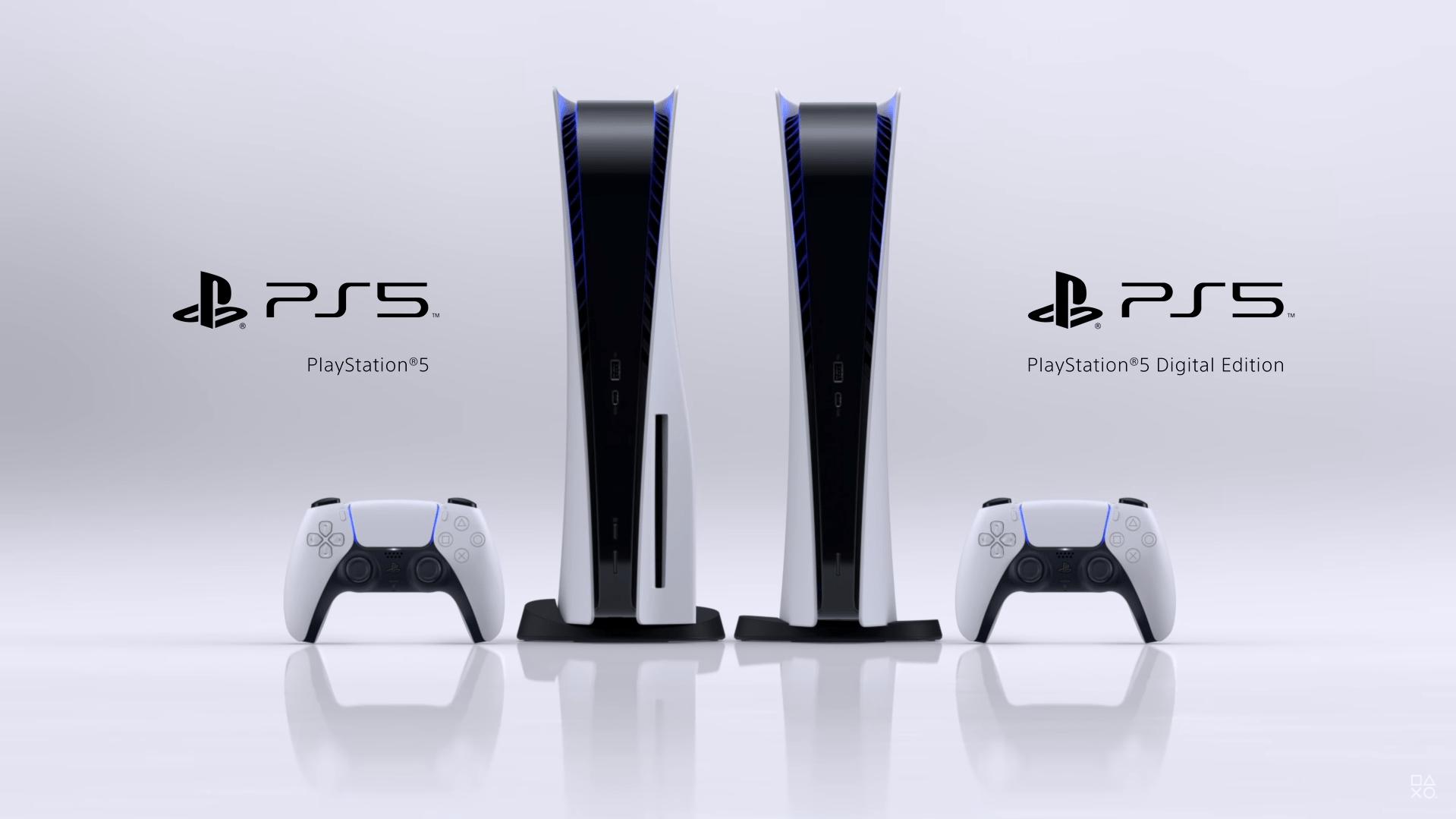 Playstation 5 com leitor de discos (à esquerda) e digital (à direita). (Foto: Divulgação/Sony)