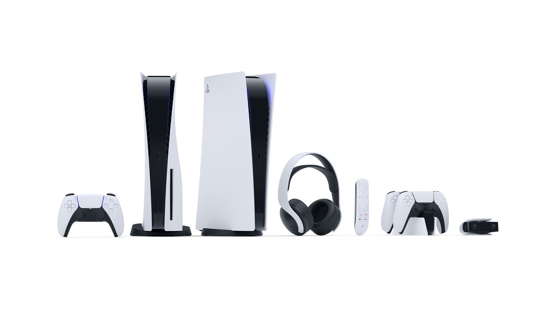 Design do PS5 e acessórios do console. (Foto: Divulgação/Sony)