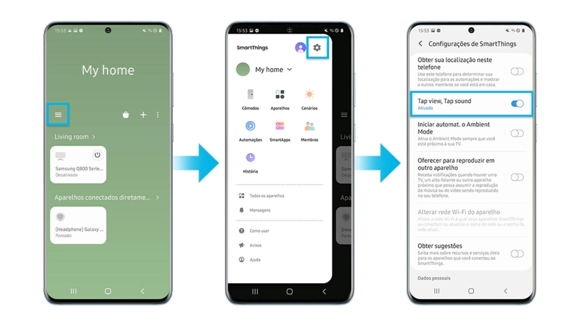 Imagem mostra o passo a passo de como ativar a opção Tap View no smartphone (Foto: Reprodução/Samsung)