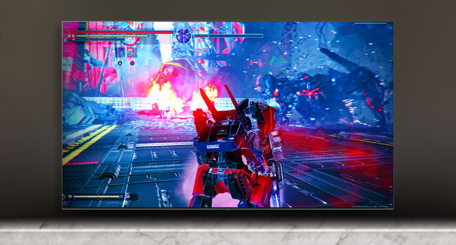 TV da LG mostrando jogo de robôs na tela
