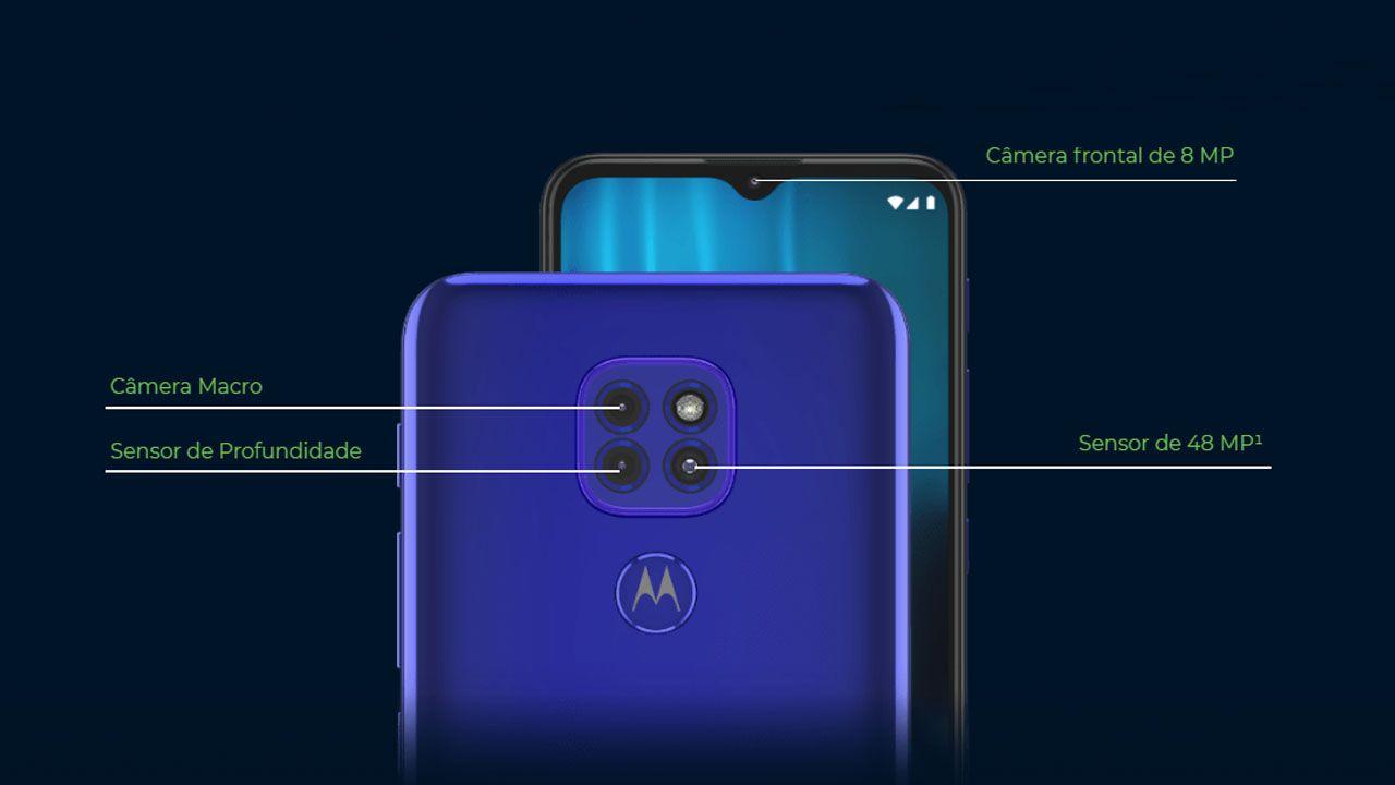 Conjunto de câmeras do Moto G9 Play. (Foto: Divulgação/Motorola)