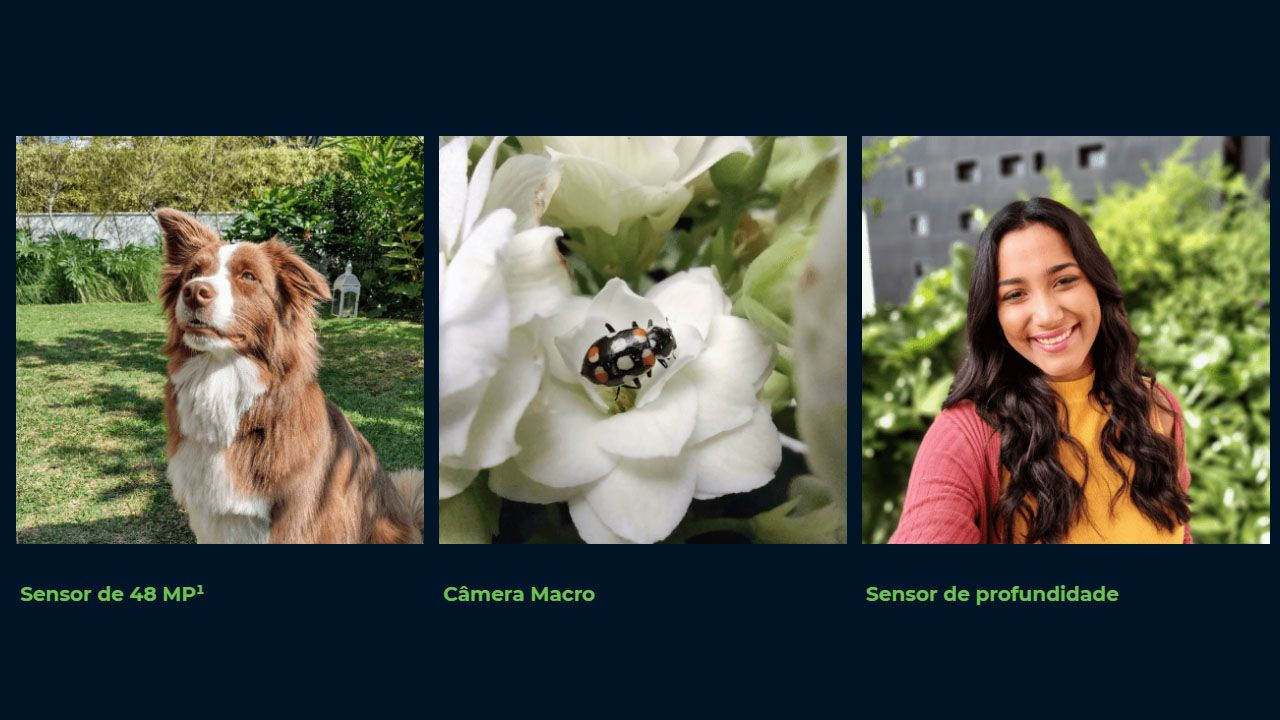 Diferenças das três câmeras do Moto G9 Play (Foto: Divulgação/Motorola)